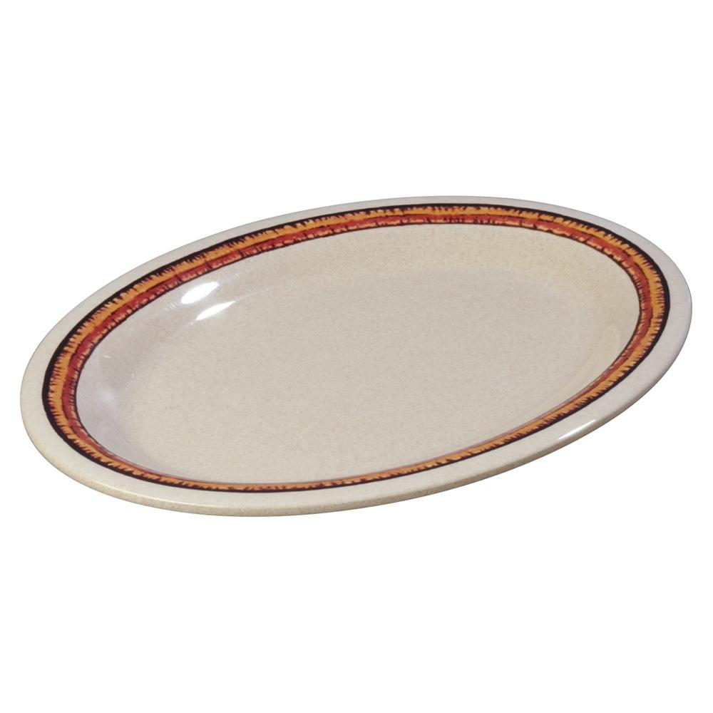 """Carlisle 43083908 Durus Oval Platter - 12x9-1/4"""" Melamine, Sierra Sand on Sand"""