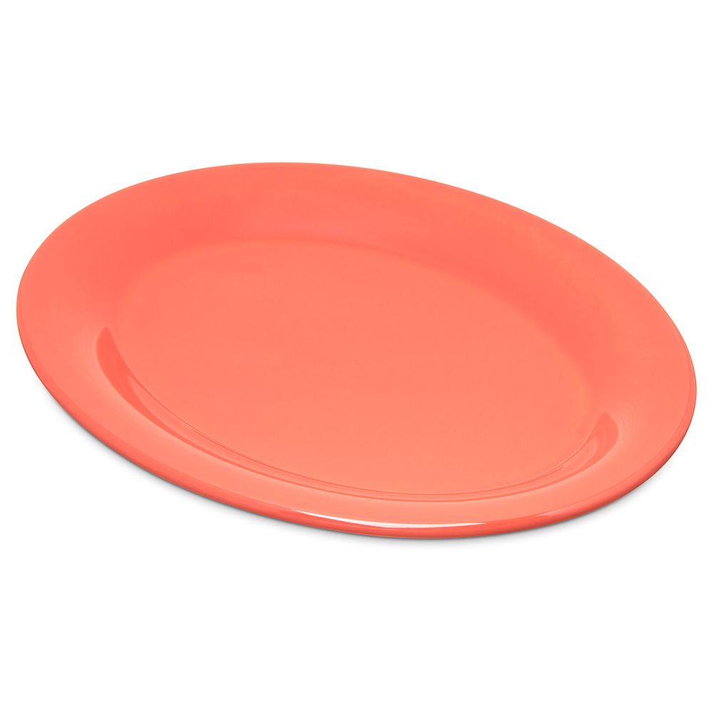 "Carlisle 4308652 Durus Oval Platter - 9-1/2x7-1/4"" Melamine, Sunset Orange"