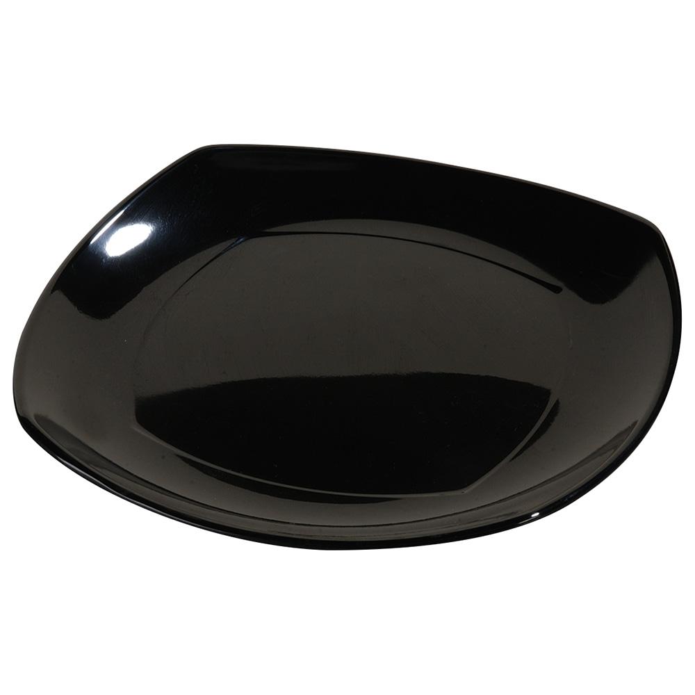 "Carlisle 4330603 9.5"" Square Dinner Plate w/ Rolled Edge, Melamine, Black"