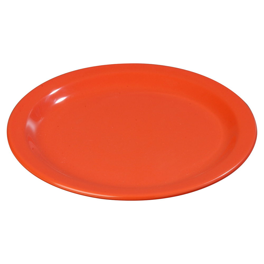 "Carlisle 4350152 9"" Round Dinner Plate w/ Reinforced Rim, Melamine, Sunset Orange"