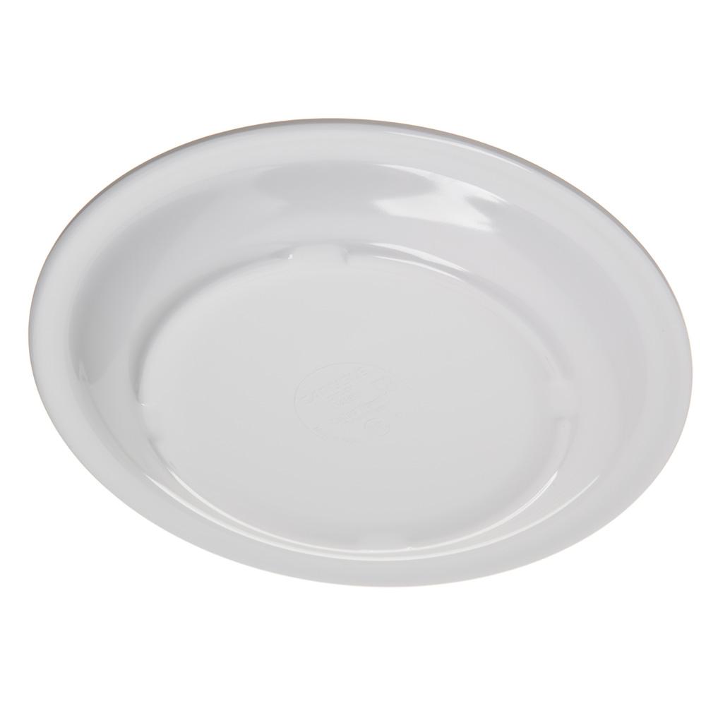 "Carlisle 4350302 7.25"" Round Salad Plate w/ Reinforced Rim, Melamine, White"