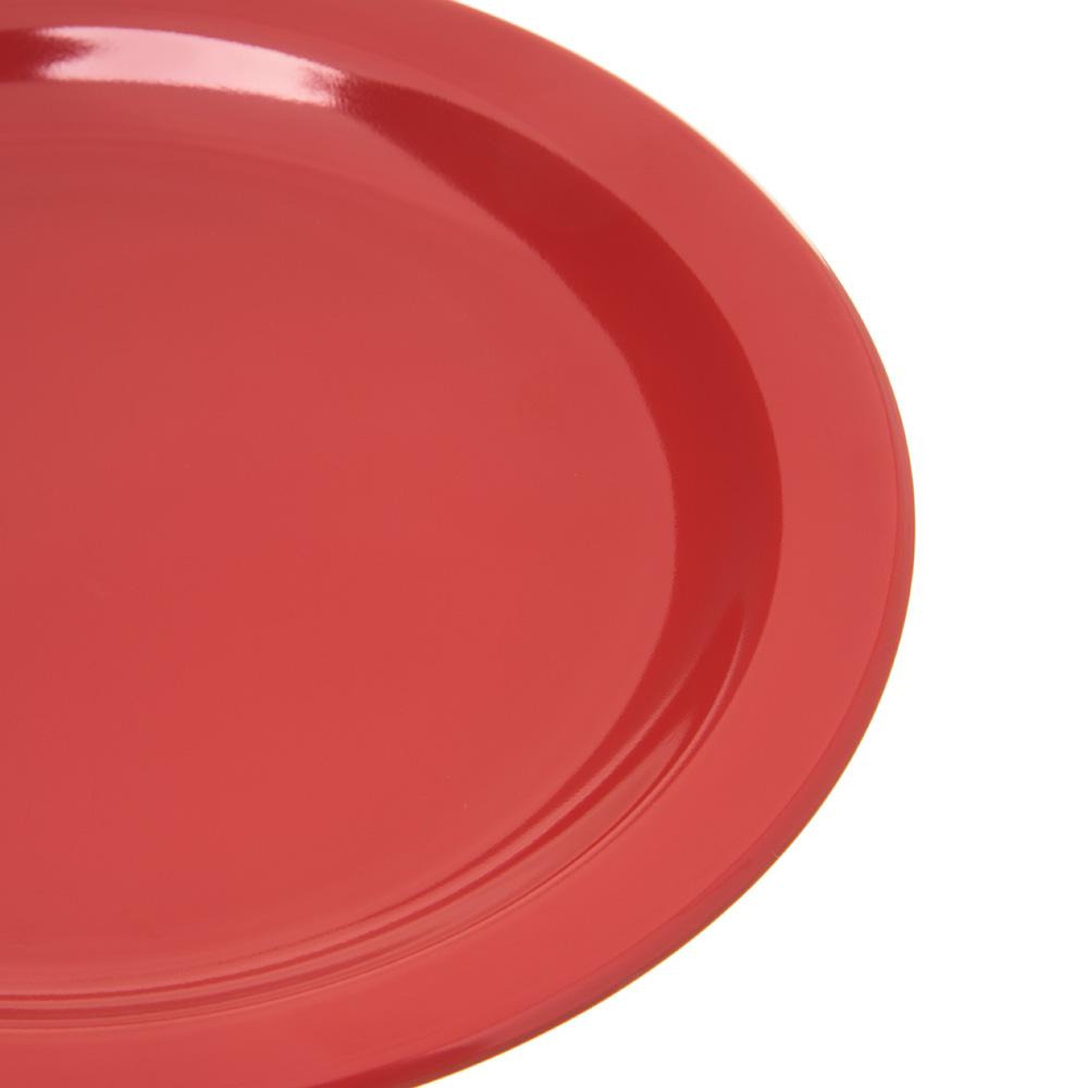 "Carlisle 4350305 7.25"" Round Salad Plate w/ Reinforced Rim, Melamine, Red"