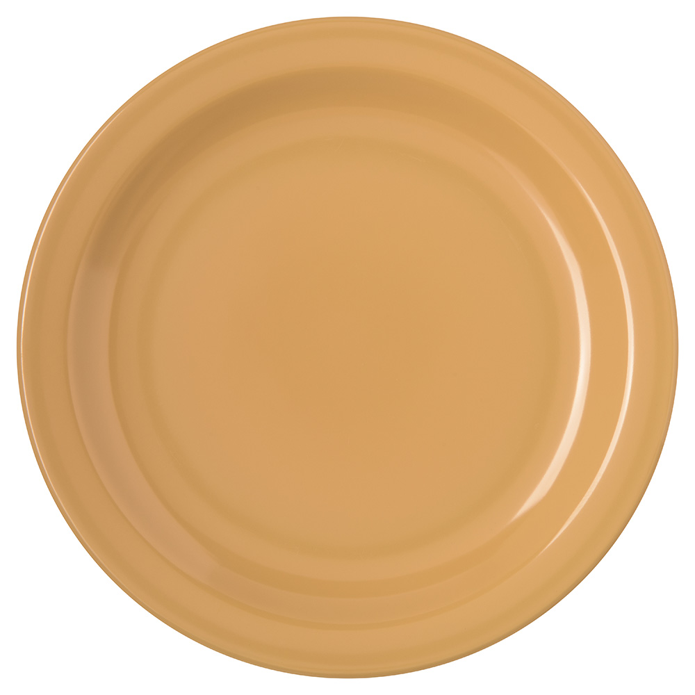 "Carlisle 4350322 7.25"" Round Salad Plate w/ Reinforced Rim, Melamine, Honey Yellow"