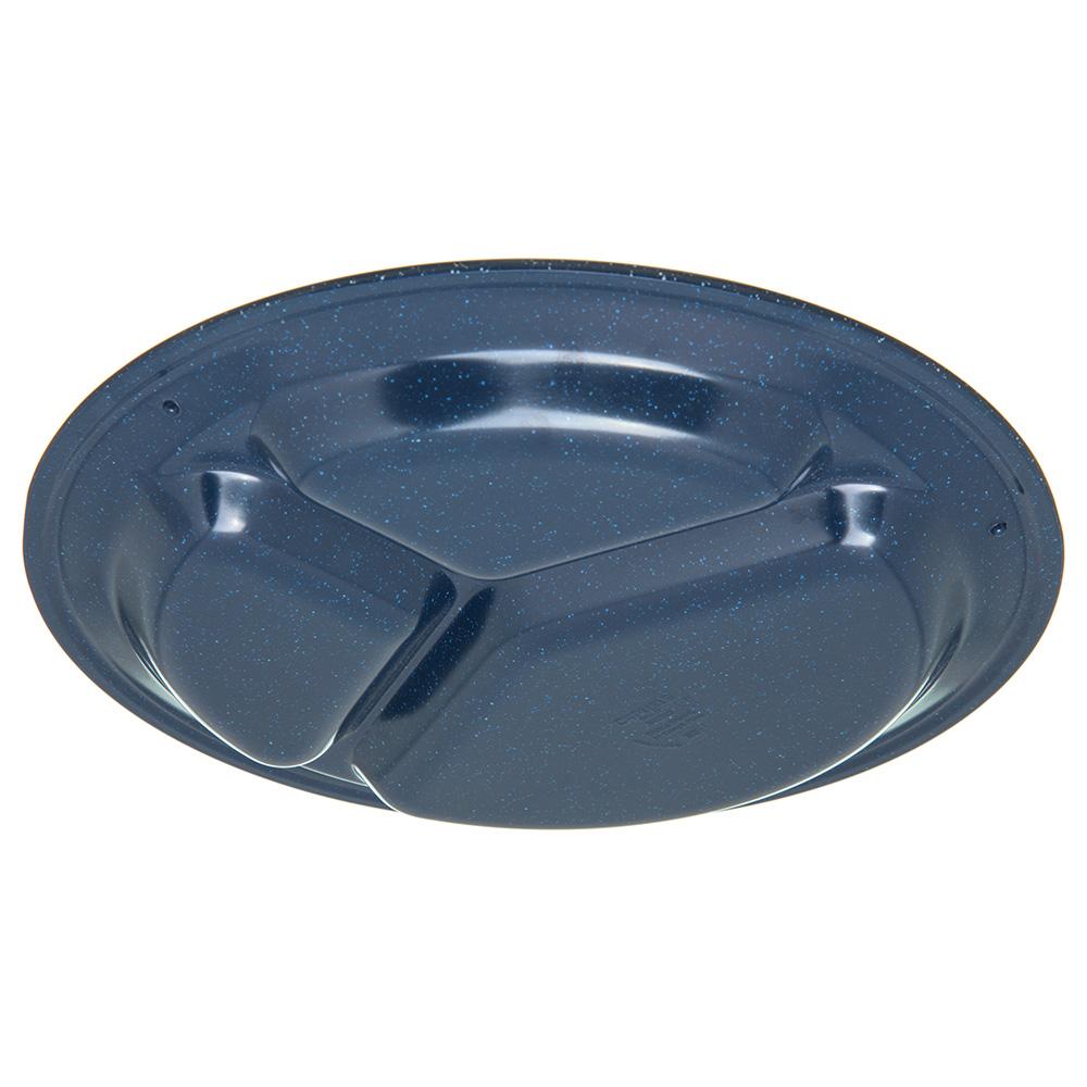 "Carlisle 4351235 11"" Round Compartment Plate w/ Reinforced Rim, Melamine, Cafe Blue"