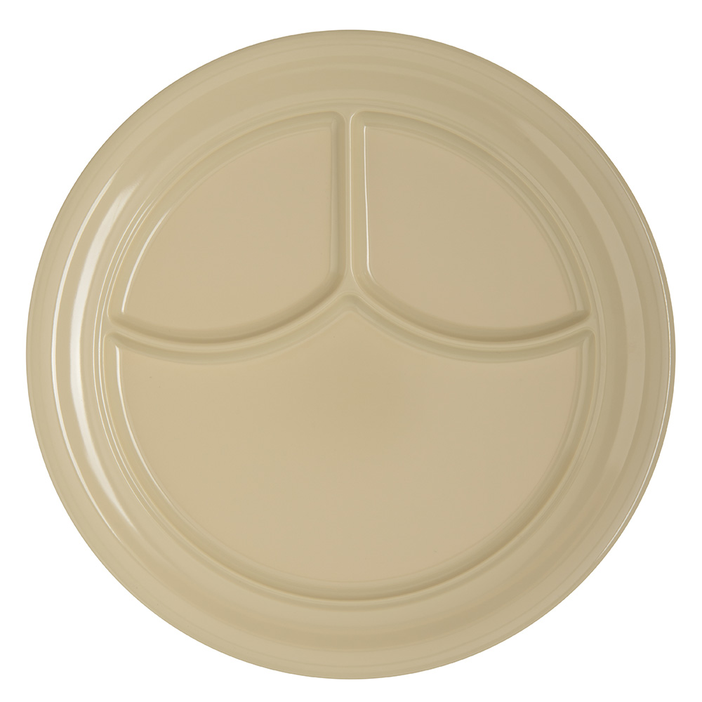 "Carlisle 4351425 9-3/4"" Dallas Ware (3)Compartment Plate - Melamine, Tan"