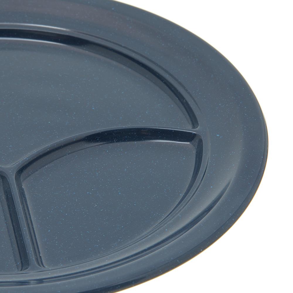 "Carlisle 4351435 9.75"" Round Compartment Plate w/ Reinforced Rim, Melamine, Cafe Blue"