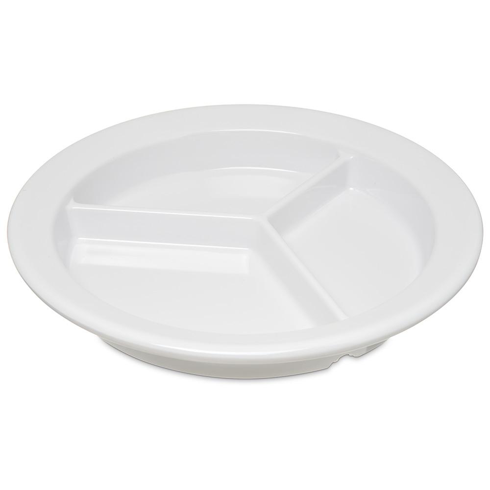 "Carlisle 4351602 9"" Round Compartment Plate w/ Reinforced Rim, Melamine, White"