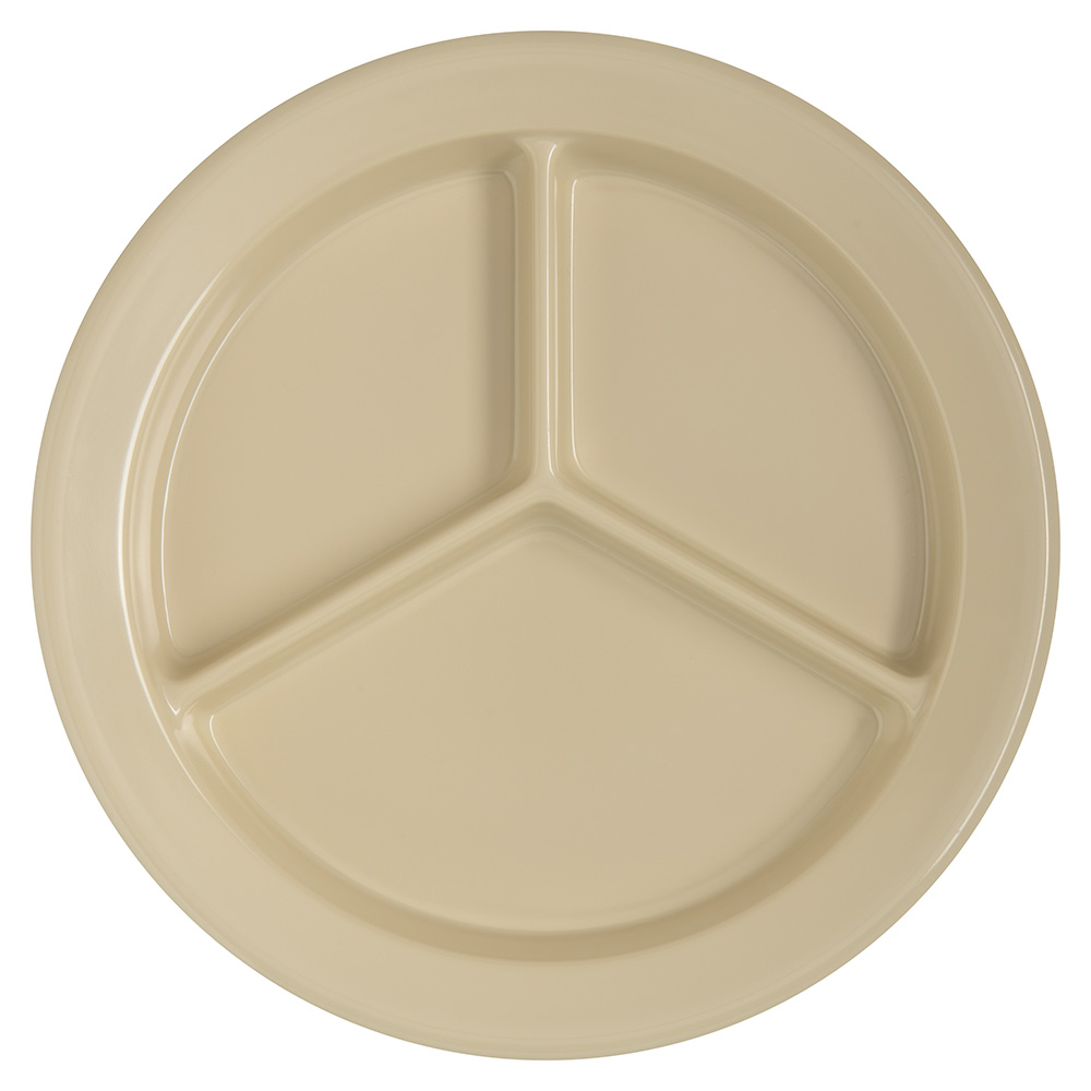 "Carlisle 4351625 9"" Dallas Ware (3)Compartment Plate - Melamine, Tan"