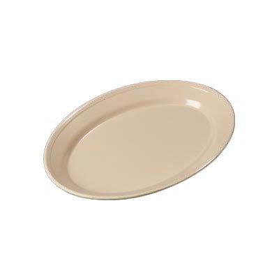 "Carlisle 43560-825 Dallas Ware Oval Platter - (12/Pk) 12x8-1/2"" Melamine, Tan"