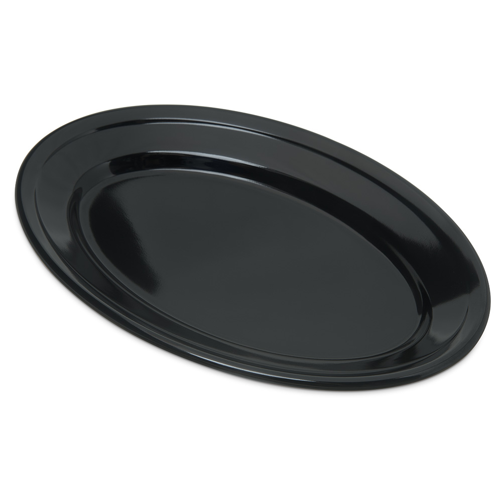 "Carlisle 4356303 Oval Platter w/ Reinforced Rim, 9.25"" x 6.25"", Melamine, Black"