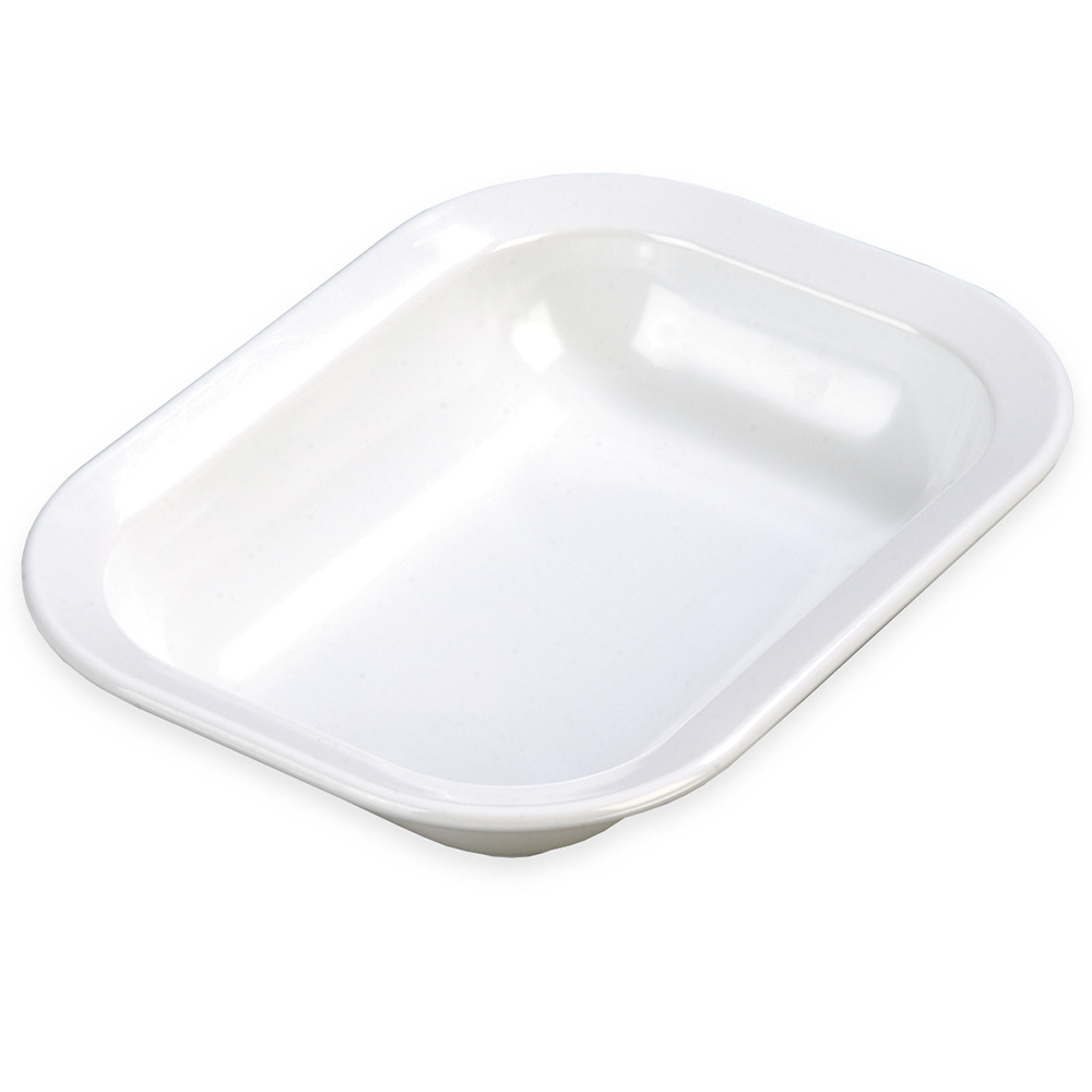 "Carlisle 4374502 Rectangular Baker/Server Bowl - 10-1/16x7-1/2x2"" Melamine, White"