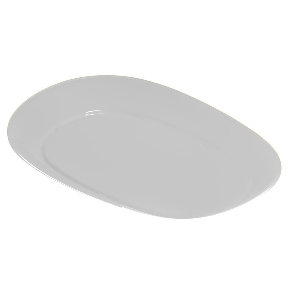 """Carlisle 4384202 Oblong Platter - 14"""" x 10"""",  Melamine, White"""
