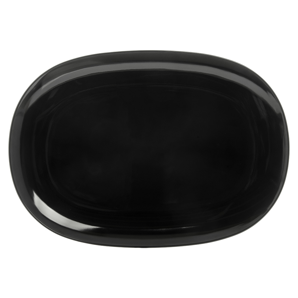 """Carlisle 4384203 Oblong Platter - 14x10"""" Melamine, Black"""