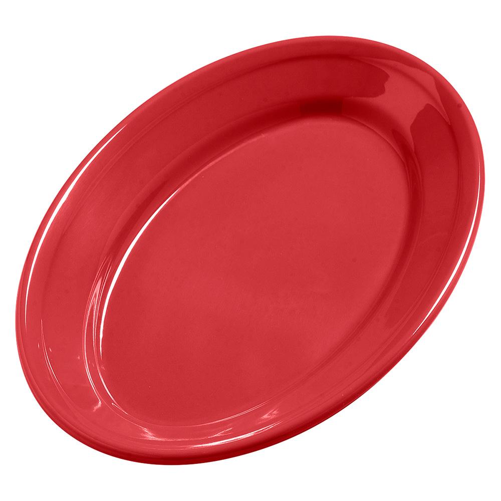 "Carlisle 4387205 Dayton Oval Platter - 9-1/4x6-1/4"" Melamine, Red"