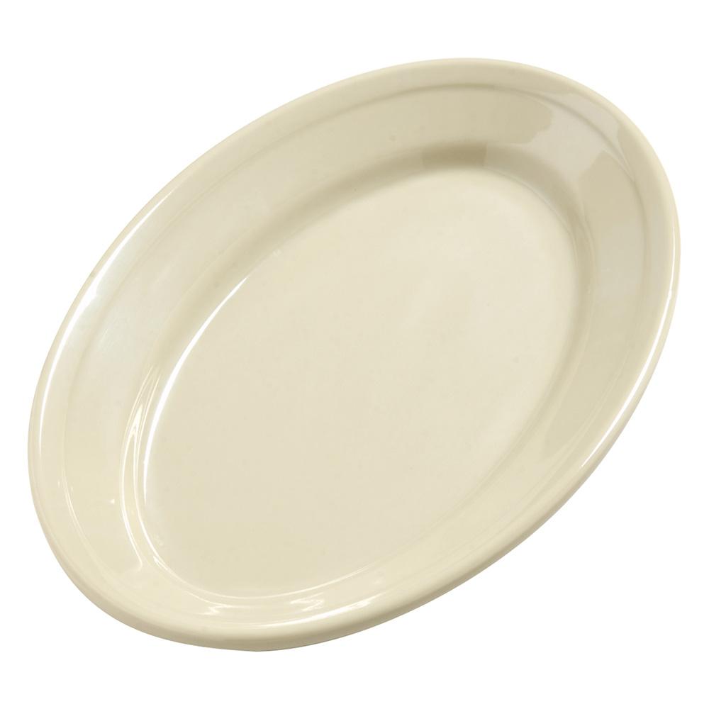 "Carlisle 4387206 Dayton Oval Platter - 9-1/4x6-1/4"" Melamine, Oatmeal"