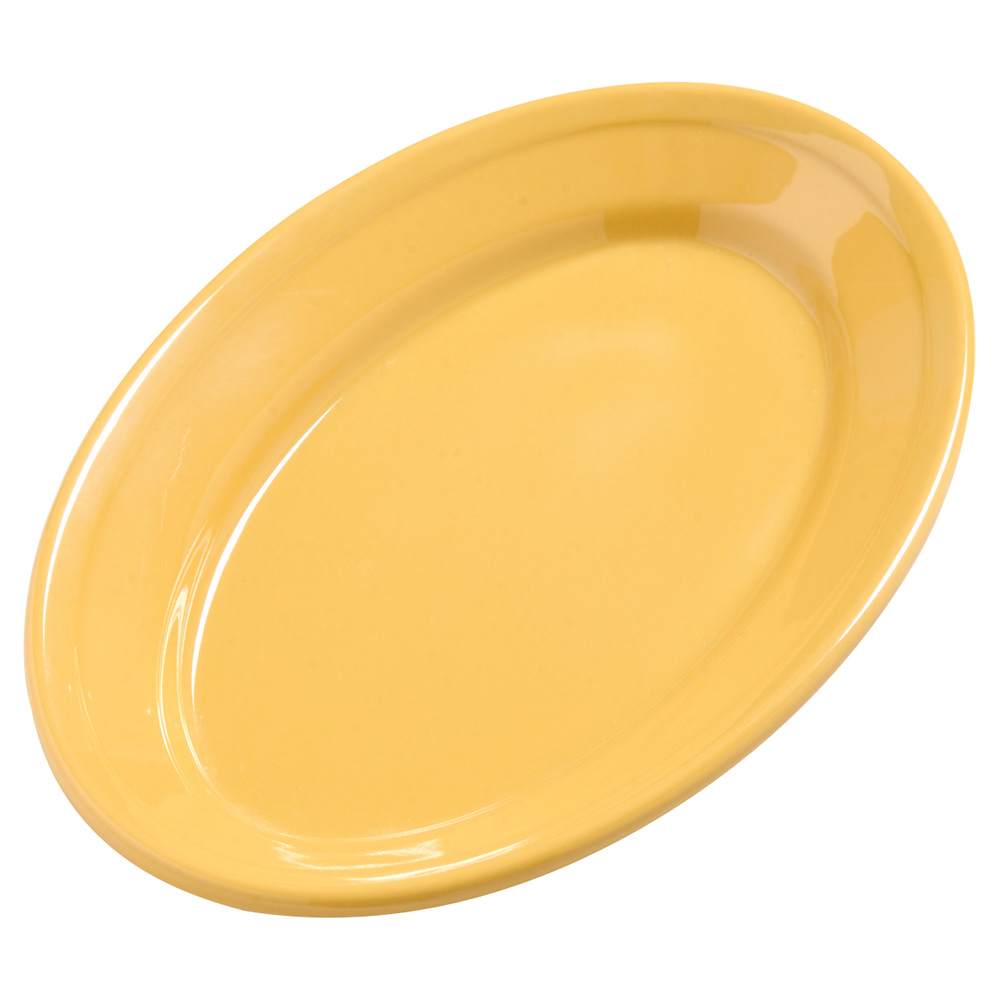 "Carlisle 4387222 Dayton Oval Platter - 9-1/4x6-1/4"" Melamine, Honey Yellow"