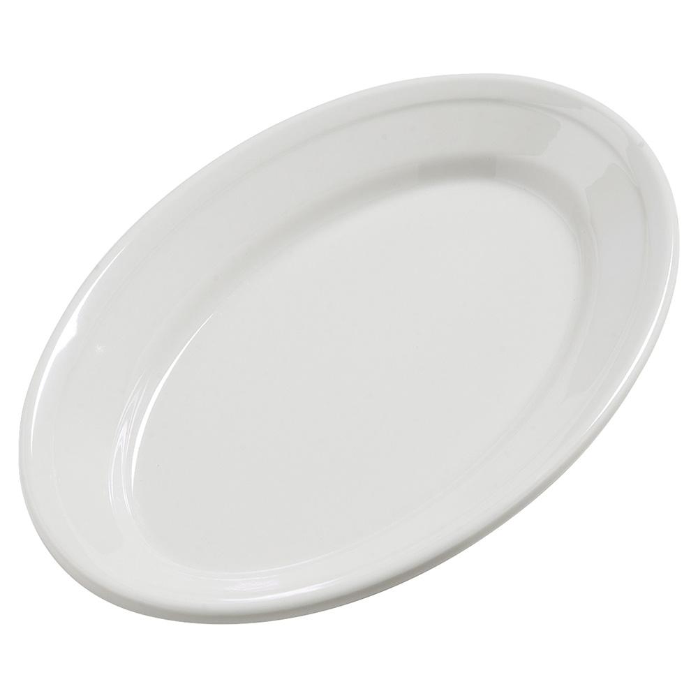"""Carlisle 4387237 Dayton Oval Platter - 9-1/4x6-1/4"""" Melamine, Bavarian Cream"""