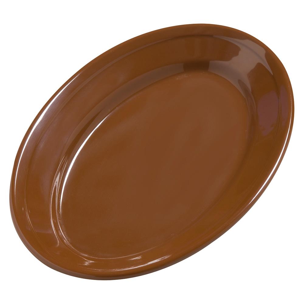 "Carlisle 4387243 Dayton Oval Platter - 9-1/4x6-1/4"" Melamine, Toffee"