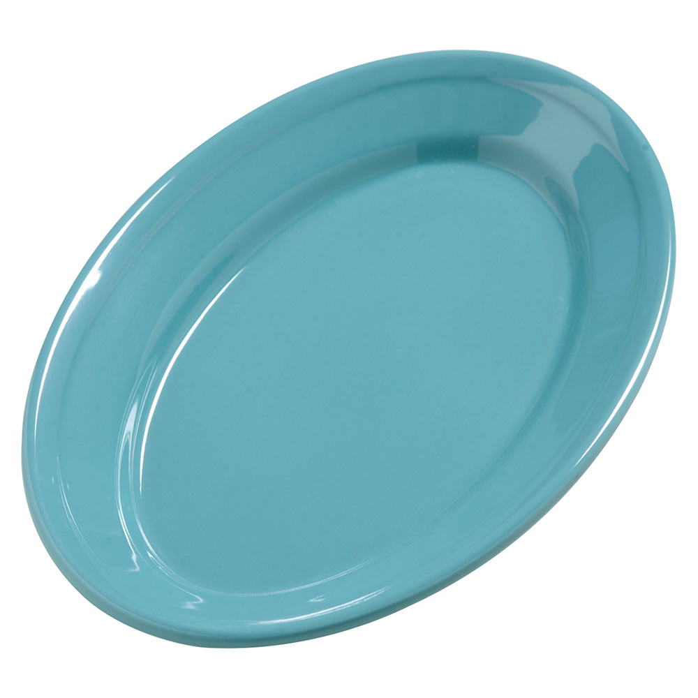 """Carlisle 4387263 Oval Platter - 9.25"""" x 6.25"""", Melamine, Turquoise"""