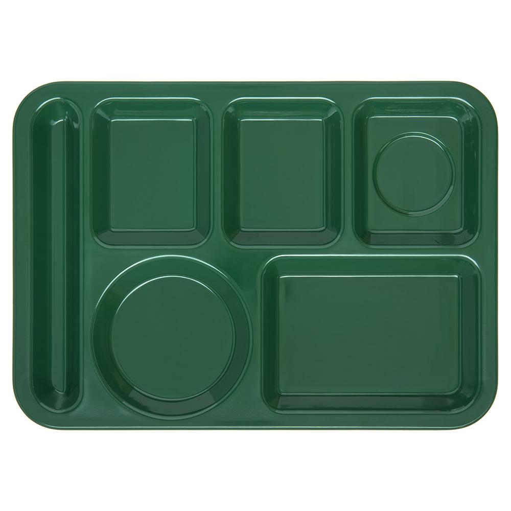 "Carlisle 4398008 Rectangular Tray w/ (6) Compartments, 14"" x 10"", Melamine, Forest Green"