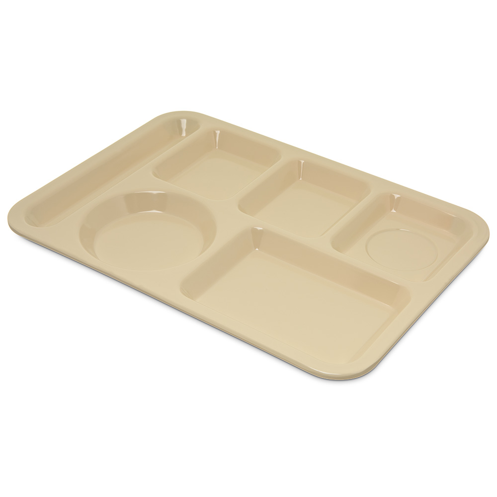 "Carlisle 4398025 Rectangular (6)Compartment Tray - Left-Handed, 14x10"" Tan"