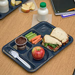 "Carlisle 4398035 Rectangular Tray w/ (6) Compartments, 14"" x 10"", Melamine, Cafe Blue"