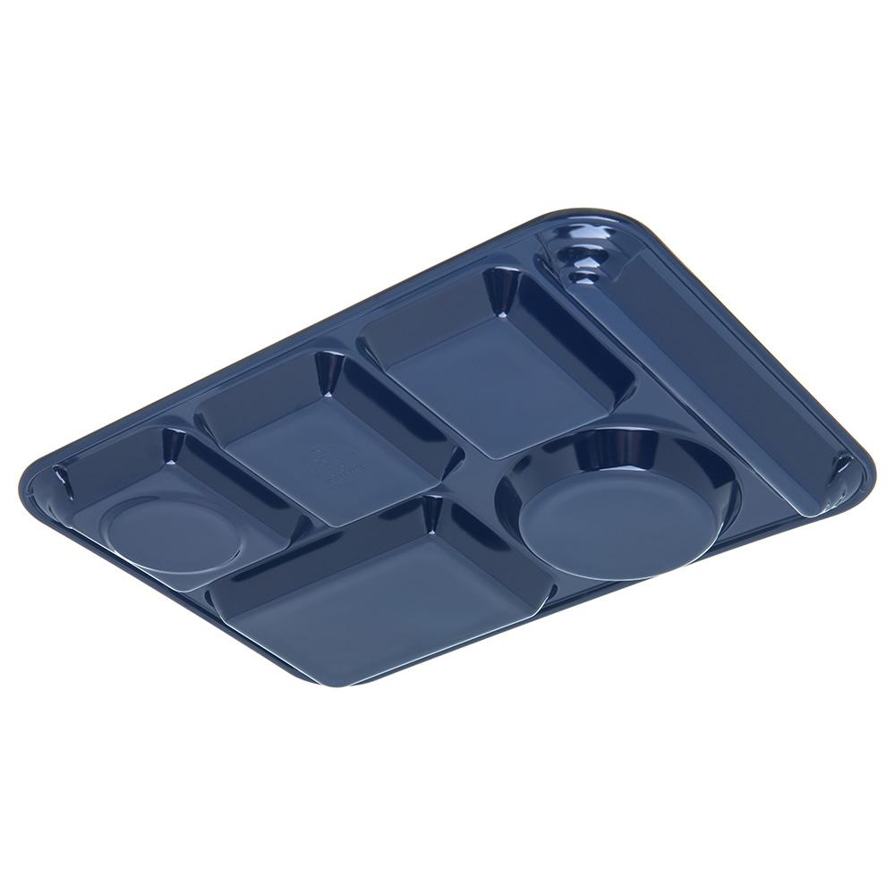 "Carlisle 4398050 Rectangular Tray w/ (6) Compartments, 14"" x 10"", Melamine, Dark Blue"
