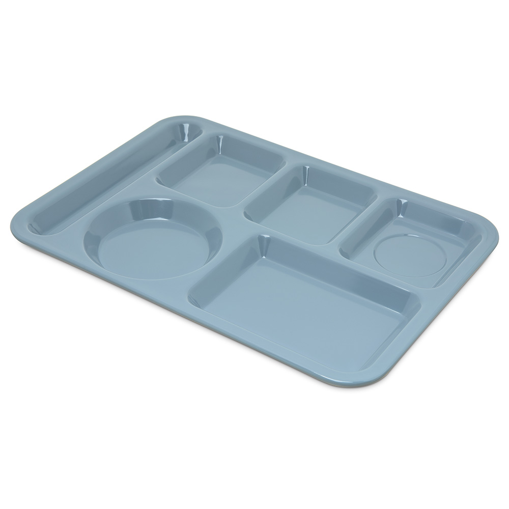 "Carlisle 4398059 Rectangular (6)Compartment Tray - Left-Handed, 14x10"" Slate Blue"