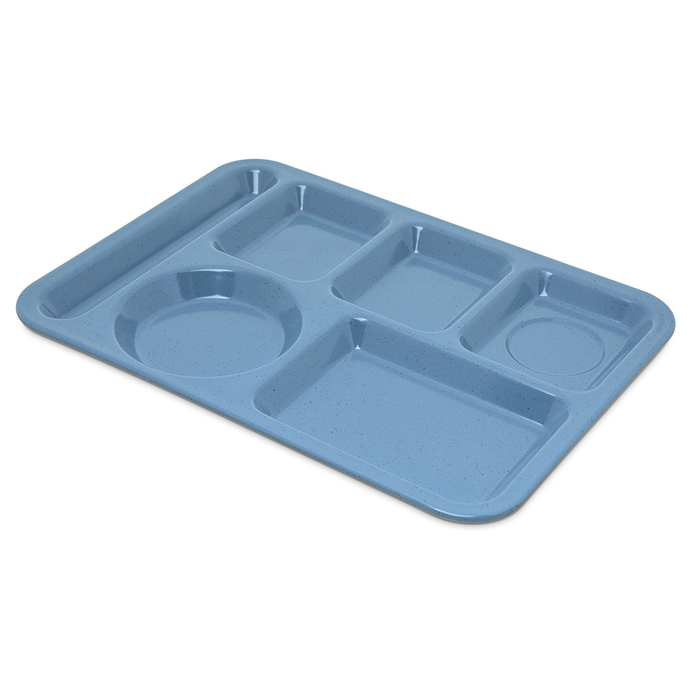 "Carlisle 4398192 Rectangular (6)Compartment Tray - Left-Handed, 14x10"" Sandshades"
