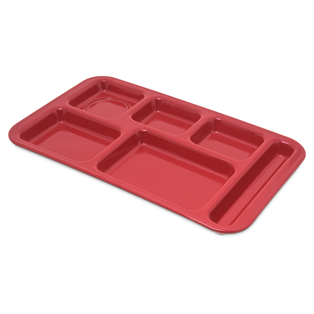 "Carlisle 4398205 Rectangular Tray w/ (6) Compartments, 15"" x 9"", Melamine, Red"