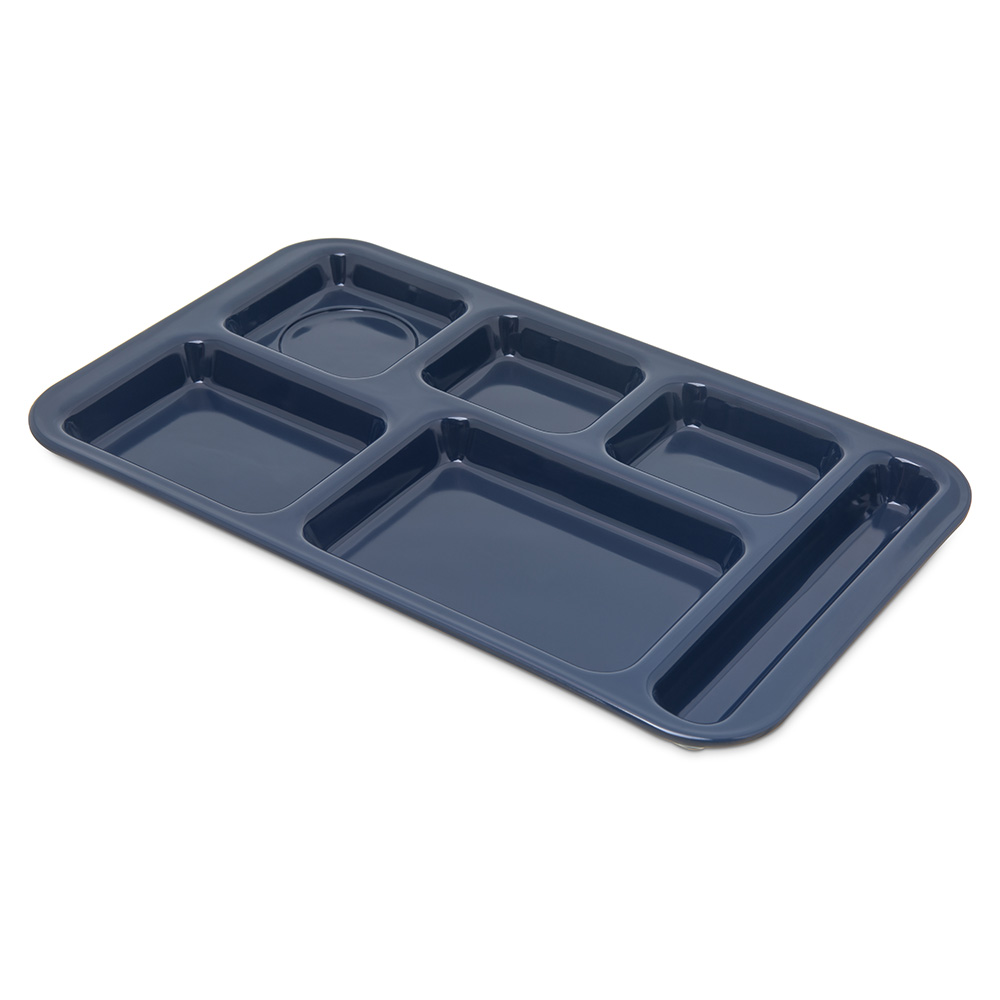 "Carlisle 4398250 Rectangular (6)Compartment Tray - Right-Handed, 15x9"" Dark Blue"