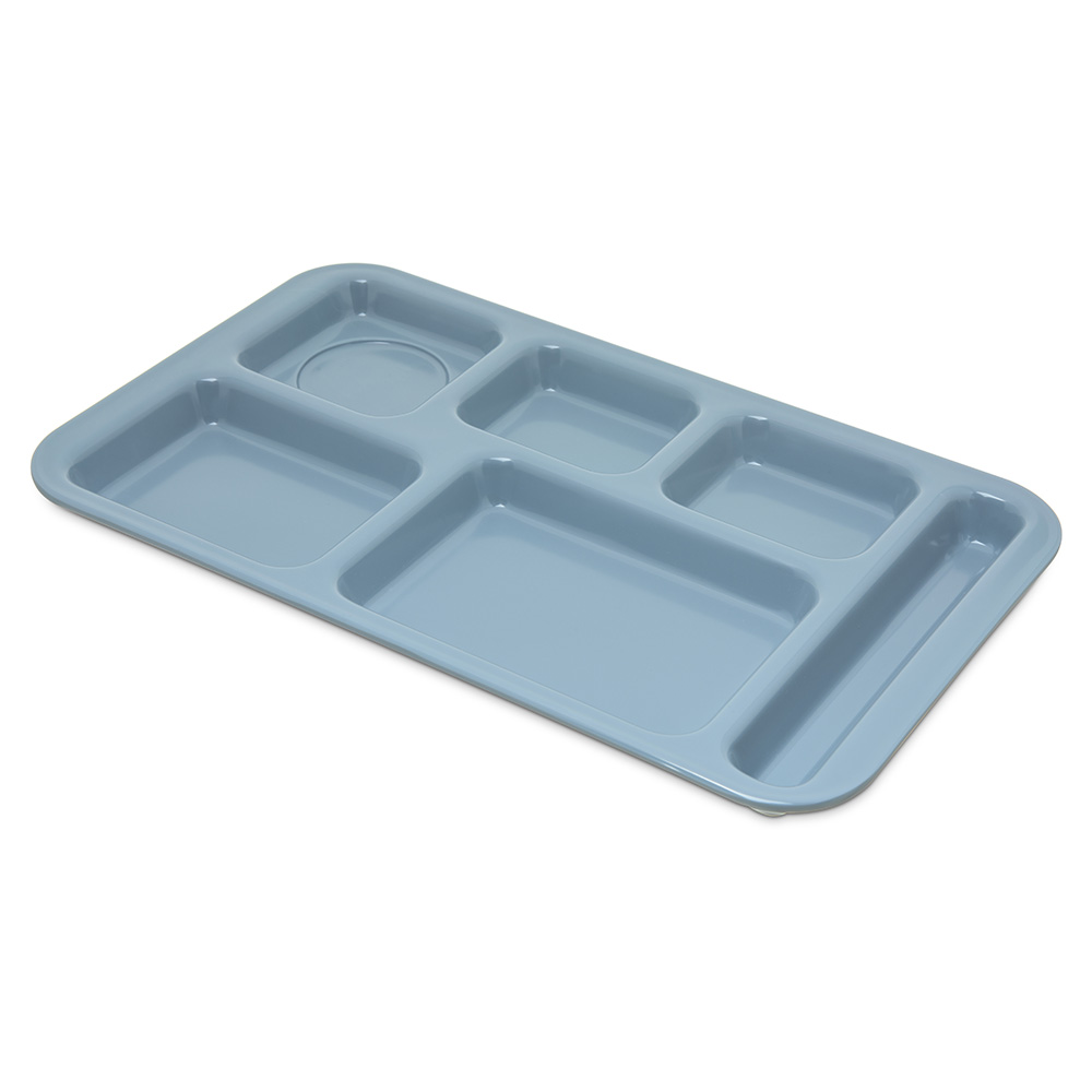 "Carlisle 4398259 Rectangular (6)Compartment Tray - Right-Handed, 15x9"" Slate Blue"