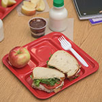 "Carlisle 4398405 Rectangular Tray w/ (4) Compartments, 10.11"" x 9.78"", Melamine, Red"