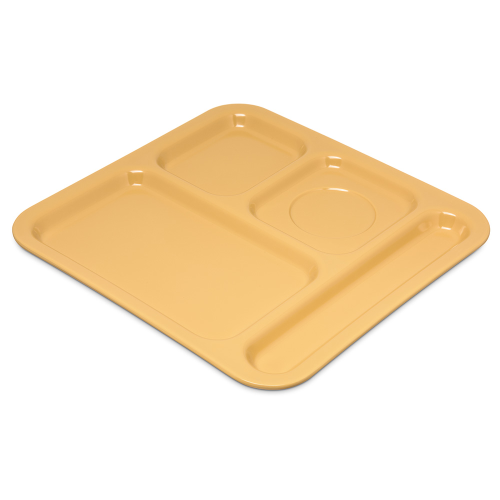 "Carlisle 4398422 Rectangular Tray w/ (4) Compartments, 10.11"" x 9.78"", Melamine, Honey Yellow"