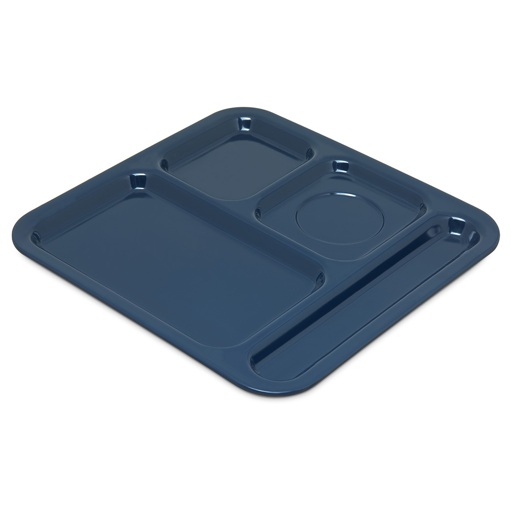 "Carlisle 4398450 Rectangular Tray w/ (4) Compartments, 10.11"" x 9.78"", Melamine, Dark Blue"