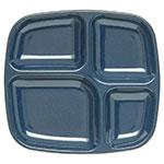 "Carlisle 4398635 Rectangular Tray w/ (4) Compartments, 10.3125"" x 9.59"", Melamine, Cafe Blue"