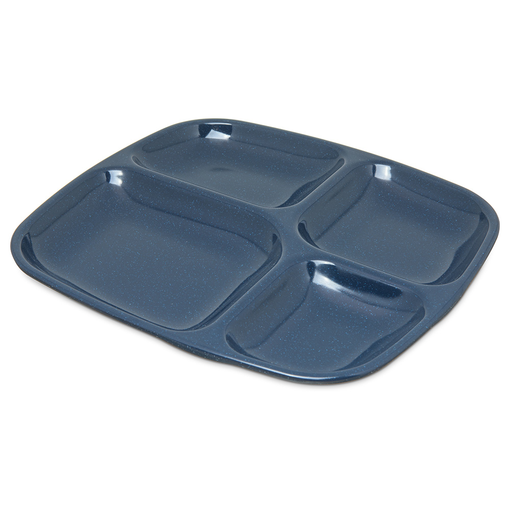 "Carlisle 4398635 (4)Compartment School Tray - 10-5/16x9-19/32"" Cafe Blue"