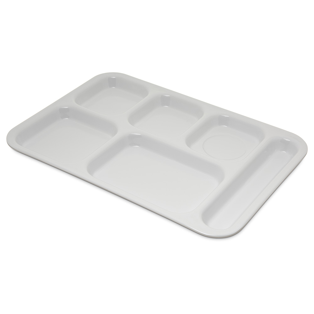 "Carlisle 4398802 (6)Compartment Tray - Right-Handed, 14-1/2x10"" White"