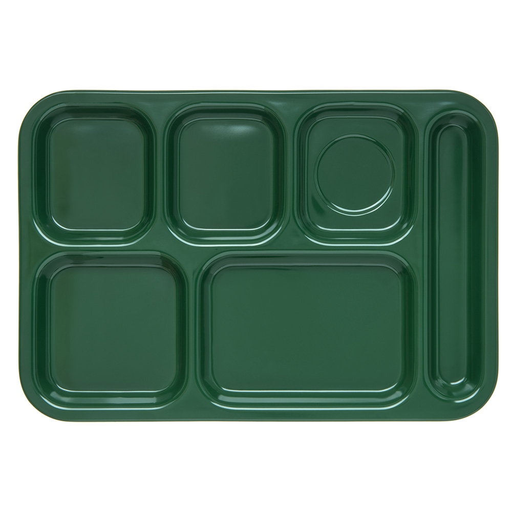 "Carlisle 4398808 Rectangular Tray w/ (6) Compartments, 14.5"" x 10"", Melamine, Forest Green"