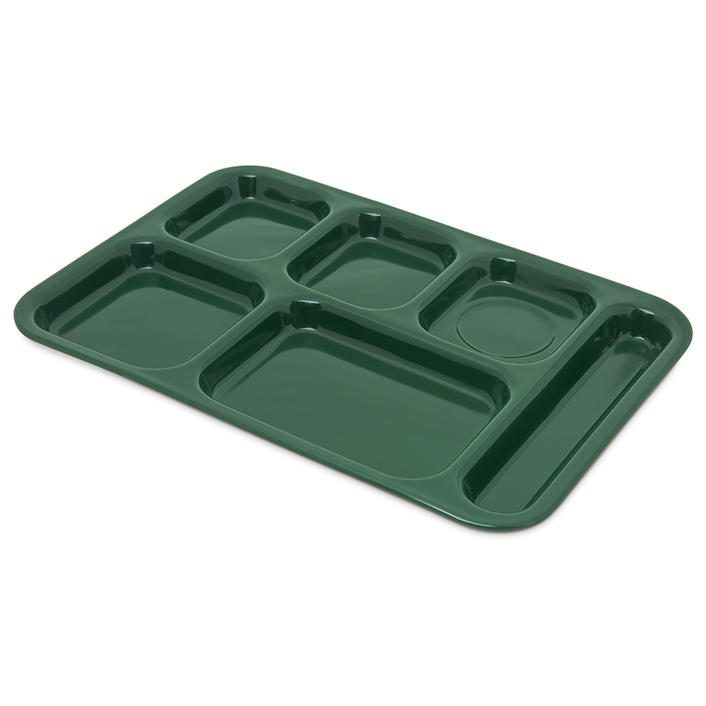"Carlisle 4398808 (6)Compartment Tray - Right-Handed, 14-1/2x10"" Forest Green"