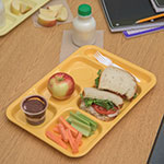 "Carlisle 4398834 Rectangular Tray w/ (6) Compartments, 14.5"" x 10"", Melamine, Bright Yellow"
