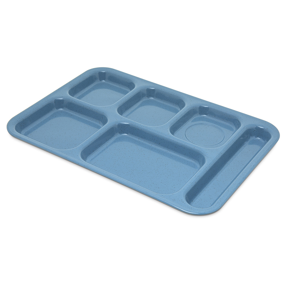 "Carlisle 4398992 Rectangular Tray w/ (6) Compartments, 14.5"" x 10"", Melamine, Sandshades"