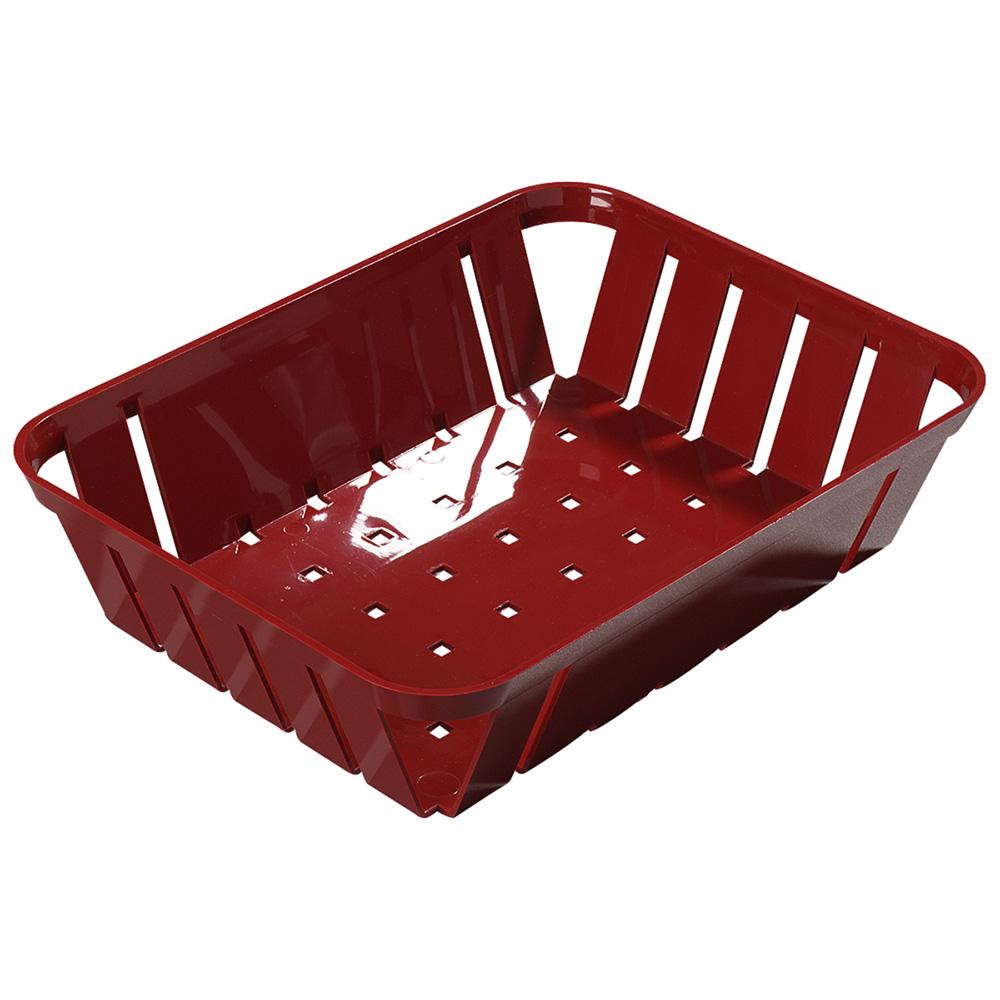 "Carlisle 4403105 Stackable Rectangular Basket - 10.375"" x 8"" x 2.5"", Plastic, Red"