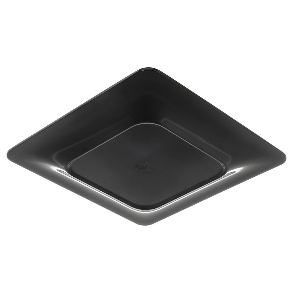 "Carlisle 4440003 12"" Square Plate w/ Wide Rim, Melamine, Black"