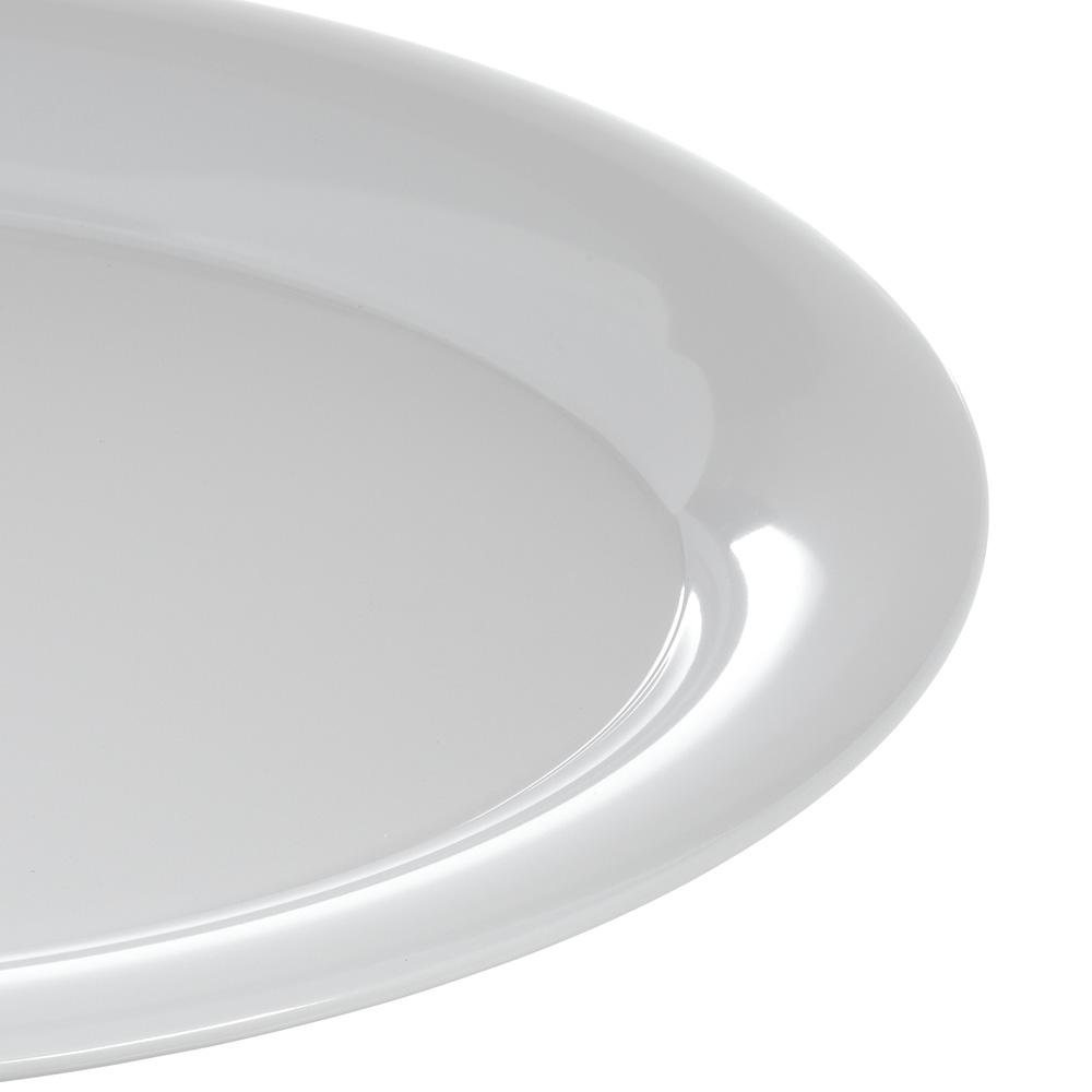 "Carlisle 4441002 Oval Platter w/ Wide Rim, 17"" x 13"", Melamine, White"