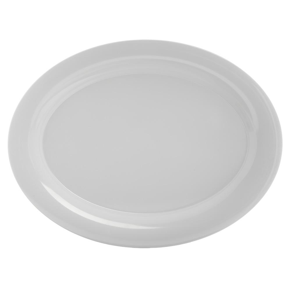 """Carlisle 4441002 Pallete Designer Oval Platter - 17x13"""" Melamine, White"""