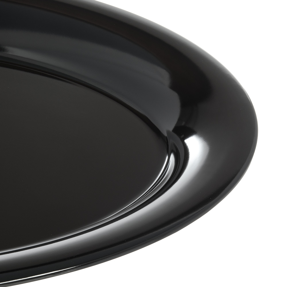 "Carlisle 4441203 Oval Platter w/ Wide Rim, 21"" x 15"", Melamine, Black"