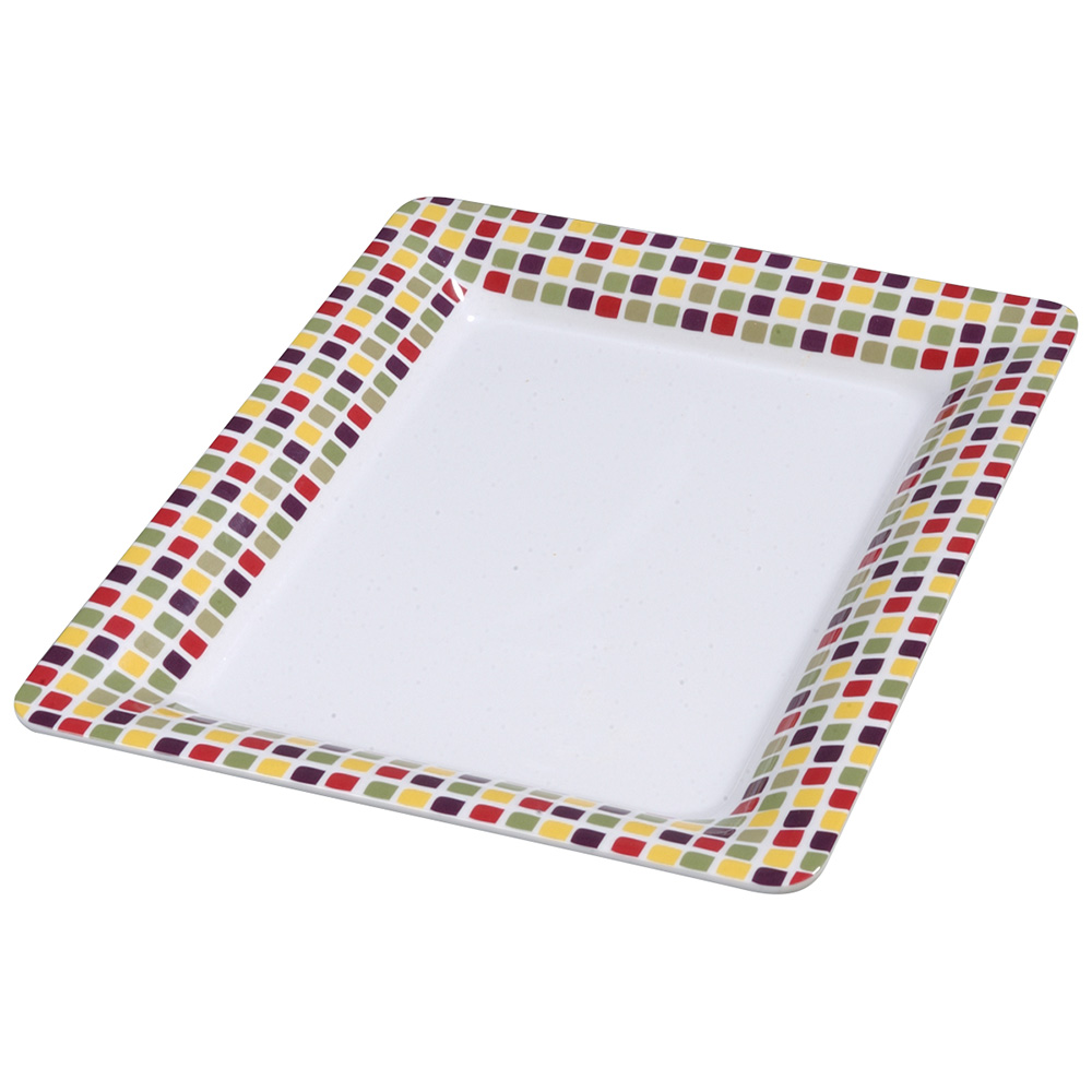 "Carlisle 44417918 Rectangular Platter w/ Wide Rim, 17"" x 13"", Melamine, Mediterranean Tile"