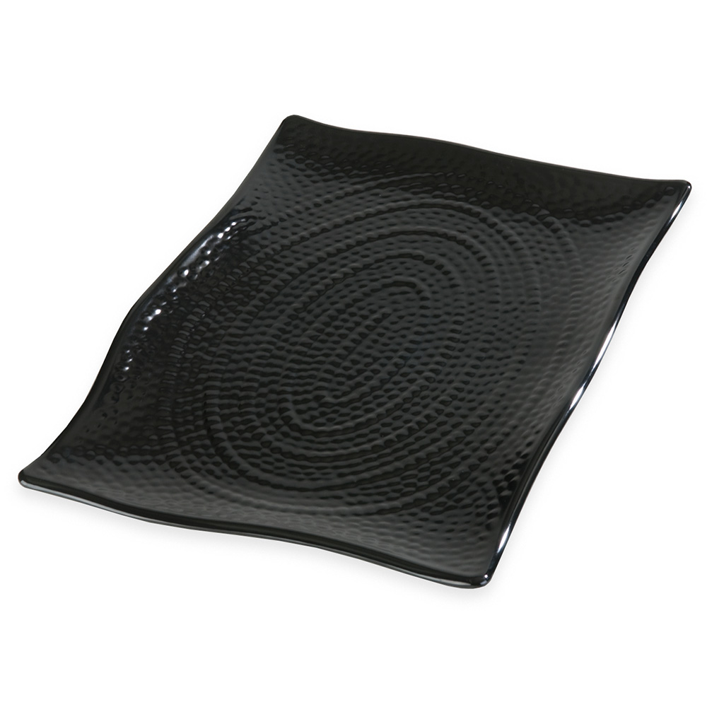 "Carlisle 4452203 Rectangular Platter - 15.5"" x 11"", Melamine, Black"
