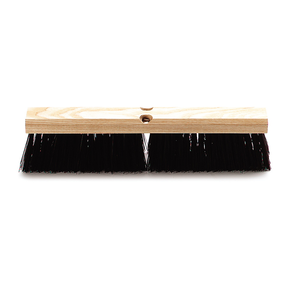 "Carlisle 4520101 18"" Floor Sweep - Coarse/Heavy, Hardwood Block, Maroon Poly Bristles, Brown"